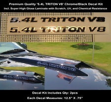 5.4L Ford Triton F150 F250 Chrome Black Decal Kit 2pcs 12.5 Inch Hood Scoop 0113