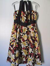 Moulinette Soeurs mehrfarbige Blumen 100% Seide Neckholder Bindeband Kleid NWT sz: 10