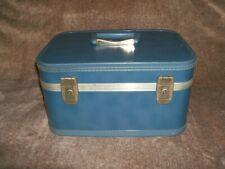 Vintage 1960s Cosmetic/Makeup Train Case Unbranded Blue Color