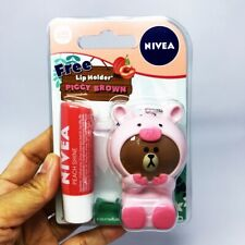 NIVEA Peach Shine Care Lips Balm Treatments Gift+Hoder Piccy Line Brown 1x4.8 g.