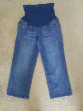 MOTHERHOOD MATERNITY SIZE MEDIUM JEANS Capri Cropped Stretch Belly Band Med Wash