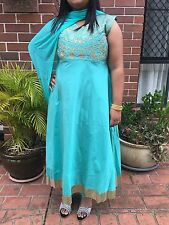 "42"" L XL Salwar Kameez Bollywood Indian Fancy Dress EID Diwali Silk Cotton Blue"