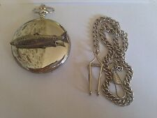 F32 Atlantic Salmon Emblem on polished silver case GIFT quartz pocket watch fob