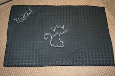 """Meow!"" Microfiber Black Cat Dish Mat w/gray,black thread machine embroidered"
