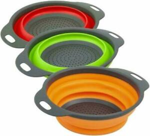 Kitchen Collapsible Colander Folding Strainer Silicone Space-Save Sieve Cooking