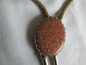 Goldstone Bolo Tie Silver Copper Color With Brown Leather Cord (shows wear)