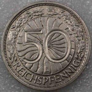 Germany Third Reich Nazi 50 Reichspfennig 1938 E Nickel   [2185