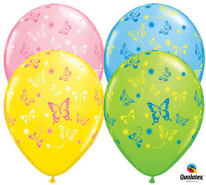 """10 pc 11"""" Colorful Butterflies Around Latex Balloon Party Decoration Butterfly"""