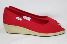 KEEN CORTONA PEEP TOE WEDGE HEELS WOMEN'S 7M RED CANVAS # 1012416