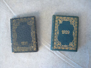 Vtg Dollhouse Miniature Books Gold Embossed Faux-Leather Binding 1929 & 1931