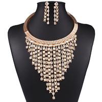 Women Charm Alloy Tassel Pendant Chain Choker Collar Bib Necklace Earrings Set