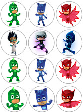 12 PJ Masks Edible Wafer Paper Cupcake Toppers