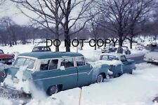 35mm COLOUR SLIDE - FORD COUNTRY SEDAN IN THE SNOW - 1955?