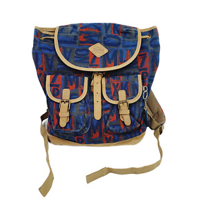 """Totto Sport Backpack Canvas Letters Khaki Blue Multi Pockets 16"""" x 12"""""""