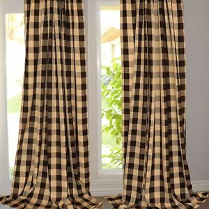 Buffalo Checkered Polyester Curtain Window Treatment/Décor Brown and Beige