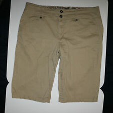 One 5 One Women/'s Cargo Capri Pants Cobblestone Drawstring Comfy Bottom Stretch