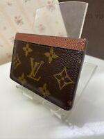 Authentic  LOUIS VUITTON PORTE CARTES SIMPLE CARD CASE PURSE MONOGRAM M61733
