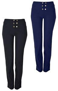Ladies Stretch Fit Trouser Front Button Design Various Leg Lenghts KK27/28/29