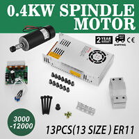 CNC 0.4KW Brushless Spindle Motor ER11 & Mach3 PWM Controller & Mount + 480W