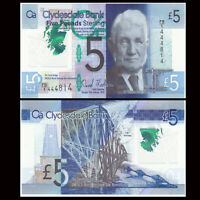 Scotland 5 pounds, 2015, P-369 New, Polymer, UNC>Clydesdale Bank