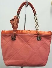 LANVIN Lamb Leather Coral Sac Mini Amalia Cabas Tote with Grosgrain Bow