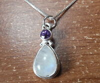 Faceted Amethyst and Moonstone Double Gem 925 Sterling Silver Necklace