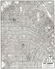 1947 Antique LOS ANGELES Street MAP City Map of Los Angeles California 7691