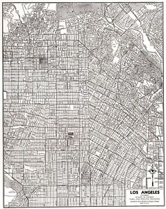 1949 Antique LOS ANGELES Street MAP City Map of Los Angeles California 8434