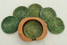 wooden apple container with 6 woven grass drink coasters vintage 1980s