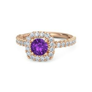 1.34 Ct Amethyst Engagement Ring Solid 14k Rose Gold Round Cut Diamond Rings