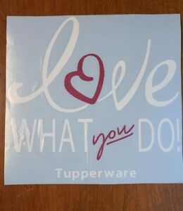 """New Tupperware """"Love What You Do"""" Consultant Decal 8""""x8"""" White & Pink Glitter"""