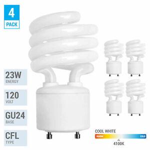 4 Pack Spiral CFL Fluorescent 23 Watt =100W Twist and Lock GU24 4100K Cool White