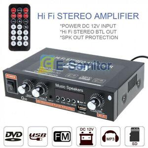800W Bluetooth Stereo Audio Amplifier Car Home HiFi Music USB FM 12V/220V EU
