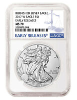 2017 W Burnished Silver Eagle NGC MS70 - Early Releases - Blue Label