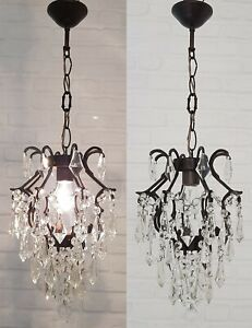 Matching / Pair of Antique Vintage Brass & Crystals Cage Style Chandeliers Lamp