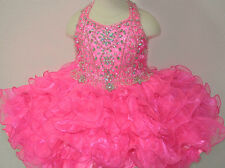 Infant Baby Girls Toddler Short National Glitz Cupcake Pageant Dress Hot Pink