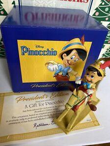 Pinocchio Disney Grolier Christmas Presidents Edition Ornament NIB' With COA