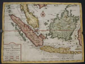 SINGAPORE INDONESIA SOUTHEASTERN ASIA 1740 ISAAK TIRION UNUSUAL ANTIQUE MAP