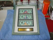 Disney Dollars, 1997, Framed 3 Bill Set, w Matching Serial Numbers D 968