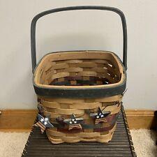 "Patriotic Wicker Basket w/ Handle Star Stripes Rectangular 12"" tall Brown Rattan"