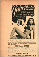 1949 Vintage Print Ad Irving Klaw Girlie Photos Models Poses Live Artists Offer