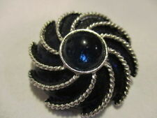 "AVON Vintage ""Moonwind"" Royal Blue Enamel & Glass Swirl Scarf/Brooch Pin 1972"