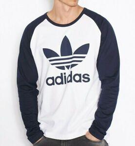 Adidas Men's Trefoil LS Tee Shirt White / Navy Crew Neck Style AY7804 RRP £29.99