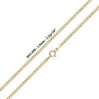 9ct Solid Yellow Gold Flat Beveled Curb Chain Necklace - 1.9mm - Various Lengths