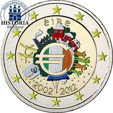 Irland 2 Euro Gemeinschaftsausgabe 2012 bfr. 10 Jahre Euro Bargeld in Farbe