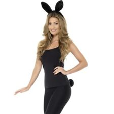Adult Animal Rabbit Fancy Dress Set Ears on Headband & Tail Kit Black by Smiffys