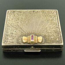 Antique Tiffany & Co. Silver & 14k Gold Blood Ruby Makeup Powder Box Case