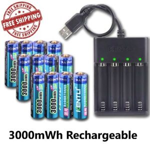 Rechargeable AA 1.5V 3000mWh Li-ion Batteries + Charger polymer lithium li-ion