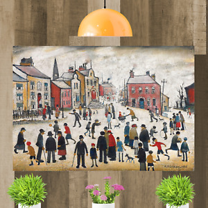 LS Lowry People Standing About Framed Canvas Wall Art Print Artwork Painting