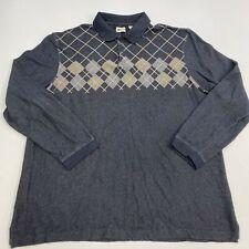 Haggar Polo Shirt Mens 2XL XXL Gray Tan Long Sleeve Argyle Diamond Cotton Blend